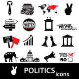 Politics black and red simple icons set eps10 Stock Images