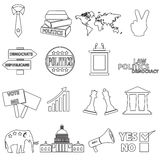 Politics black simple outline icons set eps10 Royalty Free Stock Photos