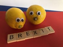 Politics : Brexit and two lemons, symbolising bitterness and disappointment stock photo
