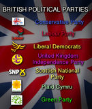 Politics - British Political Parties. The United Kingdom Main Political Parties - Conservatives, Labour, Liberal Democrats, UKIP, SNP, Plaid Cymru and the Green Stock Photography