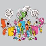 Politics cartoon. Politics concept illustration with many characters vector illustration