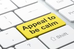 Politics concept: Appeal To Be Calm on computer keyboard background Stock Photo