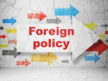 Politics concept: arrow with Foreign Policy on grunge wall background. Politics concept:  arrow with Foreign Policy on grunge textured concrete wall background Stock Image