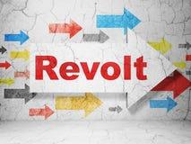 Politics concept: arrow with Revolt on grunge wall background. Politics concept: arrow with Revolt on grunge textured concrete wall background, 3D rendering vector illustration