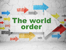 Politics concept: arrow with The World Order on grunge wall background Stock Image