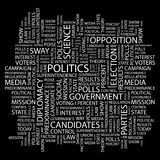 POLITICS. Concept illustration. Graphic tag collection. Wordcloud collage Stock Photo