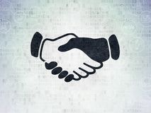 Politics concept: Handshake on Digital Data Paper background. Politics concept: Painted black Handshake icon on Digital Data Paper background with Scheme Of Hand Stock Photo