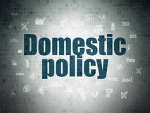 Politics concept: Domestic Policy on Digital Data Paper background. Politics concept: Painted blue text Domestic Policy on Digital Data Paper background with Royalty Free Stock Image