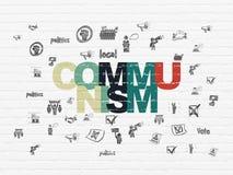 Politics concept: Communism on wall background. Politics concept: Painted multicolor text Communism on White Brick wall background with  Hand Drawn Politics Stock Photography