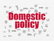 Politics concept: Domestic Policy on wall background. Politics concept: Painted red text Domestic Policy on White Brick wall background with  Hand Drawn Politics Royalty Free Stock Photos