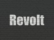 Politics concept: Revolt on wall background. Politics concept: Painted white text Revolt on Black Brick wall background royalty free illustration