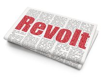 Politics concept: Revolt on Newspaper background. Politics concept: Pixelated red text Revolt on Newspaper background, 3D rendering Royalty Free Stock Photography