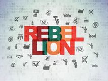 Politics concept: Rebellion on Digital Data Paper background. Politics concept: Painted multicolor text Rebellion on Digital Data Paper background with  Hand Stock Photography
