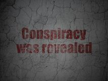 Politics concept: Conspiracy Was Revealed on grunge wall background Stock Images