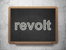 Politics concept: Revolt on chalkboard background. Politics concept: text Revolt on Black chalkboard on grunge wall background, 3D rendering Royalty Free Stock Photo