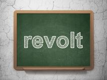 Politics concept: Revolt on chalkboard background. Politics concept: text Revolt on Green chalkboard on grunge wall background, 3D rendering Royalty Free Stock Images