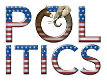 Politics. Digital and photo illustration of the word Politics with stars and stripes as well as a donkey and elephant head to represent democrats and republicans Royalty Free Stock Photos