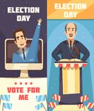 Politics Election Campaigning Vertical Banners. Politics election campaigning 2 cartoon vertical banners set with racing for president candidate speech vector royalty free illustration