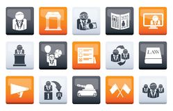 Politics, election and political party icons over color background. Vector icon set royalty free illustration