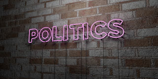 POLITICS - Glowing Neon Sign on stonework wall - 3D rendered royalty free stock illustration. Can be used for online banner ads and direct mailers stock illustration