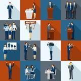 Politics Icons Set. Politics and government election flat icons set vector illustration stock illustration