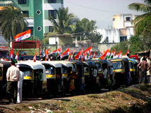 Politics India. A electorial campaign in India with the funny mode of transport called the Auto Rickshaw. This vehicle has proved to be a highly effecient way of Stock Image