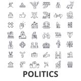 Politics, politician, vote, election, campaign, government, political party line icons. Editable strokes. Flat design. Vector illustration symbol concept stock illustration