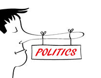 Politics and Propaganda Concept. Man with a very long nose associated with telling lies from which there is a sign hanging with the word politics added in red vector illustration