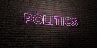 POLITICS -Realistic Neon Sign on Brick Wall background - 3D rendered royalty free stock image. Can be used for online banner ads and direct mailers vector illustration