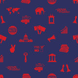 Politics red and blue icons seamless pattern Stock Photo