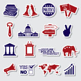 Politics red and blue simple stickers set Royalty Free Stock Photos