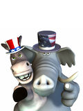 Politics - Siamese Twins. Republican Elephant and Democrat Donkey sharing one body. Looking stern and pointing at the viewer stock illustration
