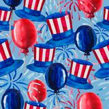 Politics of the USA and Presidents` Day. Washington`s Birthday and Independence Day - depicted in one pattern. Hat of Uncle Sam, flags and fireworks, all in the stock illustration