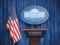 Politics of White House and President of USA United states concept. Podium speaker tribune with USA flags and sign of White House. 3d illustration stock illustration