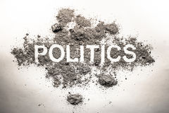 Politics word in ash, dirt, filth, dust as bad government, rule, Royalty Free Stock Images