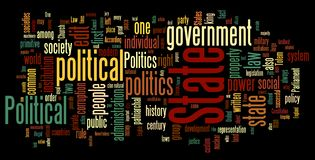 Politics Word Cloud. Collection of politics related words for design projects vector illustration