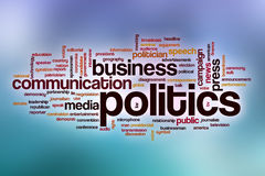 Politics word cloud with abstract background Royalty Free Stock Image