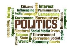 Politics. Word cloud on white background vector illustration