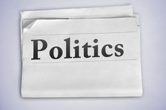 Politics word. On newspaper page Stock Photo