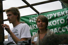 Politics Yevgenia Chirikova and Yaroslav Nikitenko at the rally in defense of Khimki forest. Moscow, Russia - August 22, 2010. Politics Yevgenia Chirikova and Royalty Free Stock Photo