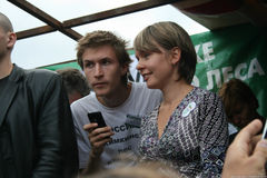 Politics Yevgenia Chirikova and Yaroslav Nikitenko at the rally in defense of Khimki forest. Moscow, Russia - August 22, 2010. Politics Yevgenia Chirikova and Stock Photos