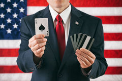 Politicus: Het houden van Ace in een Winnende Hand Stock Foto's