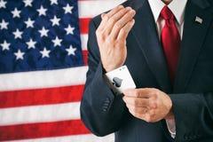 Politicus: Mens met Ace omhoog Zijn Koker Stock Fotografie