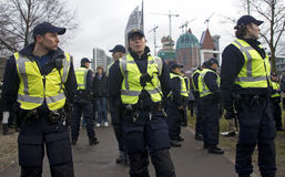Politie bij Demonstratie Royalty-vrije Stock Afbeeldingen