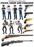Politie en misdadige reeks Stock Foto