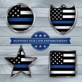 Politie en van de de Steunvlag van de Wetshandhaving het Kentekenillustratie stock illustratie