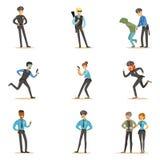 Politie en van de Wegpatrouille Gelukkig Beeldverhaalkarakter die op Plicht Politieagent Eenvormige Reeks dragen vector illustratie