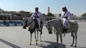 Politie op paard Doha stock footage