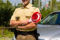 Politie - politieagent of cop eindeauto Royalty-vrije Stock Fotografie