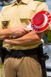 Politie - politieagent of cop eindeauto Royalty-vrije Stock Afbeeldingen